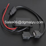 Interfaccia doppia 12V del USB al caricatore di potere dell'automobile 5V, telefono delle cellule, connettore di viaggio mobile di dati/convertitore di potere