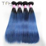 Cabelo cor reta Pre-Coloed #1b/Azul 9 brasileiro uma Virgem Remy Hair tecer dois pacotes de cabelo cor de tom (TFH18)