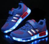 USB cargador Flyknit brillo LED calza los zapatos del deporte (FF830-1)