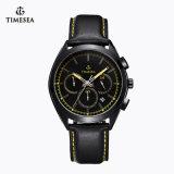 メンズ72187のための新式のスチール・ケースの革バンドクロノグラフの水晶腕時計