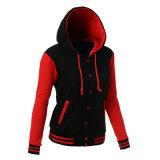 As mulheres grossista fabricante mangas longas do contraste de cores elegantes Blusa com capuz preto/vermelho do Invólucro