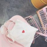 Sac fourre-tout de shopping en toile avec coeur rouge pour fille
