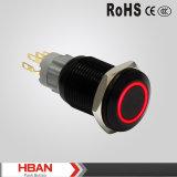 Ce TUV Série Hban Hbs2gq Anel Vermelho Iluminado 16mm Alluminum Latching Push Button Switches