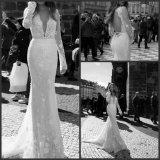 Lange Hülsen-bräutliche formale Kleid-Spitze Berta Backless Hochzeits-Kleid S20177