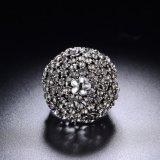 Retro Ring van de Vinger van de Juwelen van het Kristal van de Bloem van de Stijl Zwarte Uitstekende