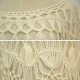 Vestito lungo bianco dal Crochet del manicotto delle donne
