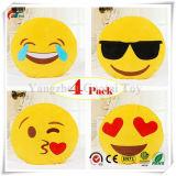 Emoji Kissen-Set, Dreampark 4 Satz-Smiley Kissenemoticon-Kissen angefülltes Plüsch-rundes gelbes weiches Kissen (13 Zoll)