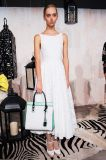 El verano de cintura alta vestido de encaje blanco para damas