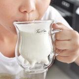OEM 두 배 벽 젖빛 유리 방열 우유 컵 Pyrex 커피 우유 찻잔