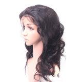 Pelo humano de la onda de la peluca llena natural india al por mayor del cordón
