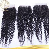 バージンのRemyの安い卸し売り加工されていないインドのバージンの巻き毛の波のクチクラの毛のレースの閉鎖