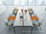 Estação de trabalho linear com mesa de escritório linear com perna metálica de 8 pessoas L Shape (HF-KD06B)