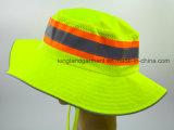 Sombrero amarillo de neón 100% del compartimiento del acoplamiento del poliester con la tubería reflexiva
