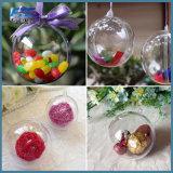 Подарок орнамента Bauble шарика 6cm украшений Tress рождества прозрачный пластичный