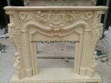 De beige Marmeren Moderne Eenvoudige Snijdende Open haard van de Steen van het Ontwerp