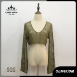女性の方法V首の穀物細い適合のセーター