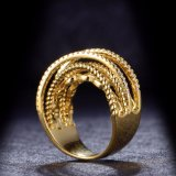 Новое кольцо ювелирных изделий желтого золота CZ 18K конструкции покрынное