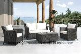Im Freien Sofa-gesetztes Schnittmöbel PET des Patio-4PC Weidenrattan-Plattform im Freien