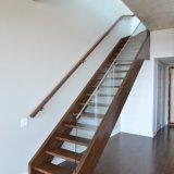 Paso de madera maciza Escalera recta con pasamanos de acero inoxidable