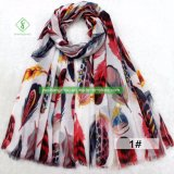 Новейшие атласный шелк шарфа Silvery пуховые напечатано моды Леди Шаль