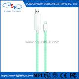 Mfi ha certificato il cavo astuto del lampo del USB del nero della carica di dati visibili di flusso 3FT del LED per Apple