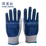 Прокатанные хлопком перчатки безопасности латекса Coated для рабочий-строителей