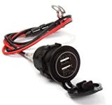 Accenditore impermeabile della sigaretta del USB dell'automobile della sigaretta dell'accenditore dello zoccolo di CC 12V 24V del caricatore di potere della presa doppia dell'adattatore per il motociclo
