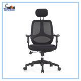 Mobiliário de escritório malha preta cadeira com Neckrest ajustável