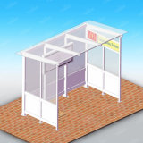 Quiosco elegante del cobertizo de la parada de omnibus con el rectángulo ligero y el LCD