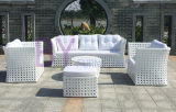 Moderner weißer im Freiengarten-Innenfreizeit PET Rattan-Kombinations-Sofa
