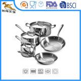 18/10 casserole en acier inoxydable avec le bas de l'admission 3-Ply