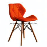Best Seat Height 18.5 Inches EMS Chair White Seat Natural Wood Legs 식당의 세트 Molded Plastic Seat Dowel Leg