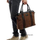 Lona de couro PU de alta qualidade Homem Ombro Messenger 15 Polegadas mala bolsa Maleta de negócios