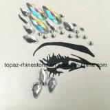 普及した装飾的な皮のステッカーDIYの美の目のアクリルの花のラインストーンのステッカー(TS-570)