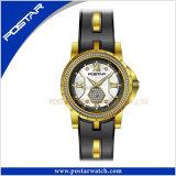 Mesdames étanche IP Watch en acier inoxydable avec un placage or