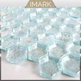 Mosaico di vetro di esagono blu del Aqua per le mattonelle della parete della doccia