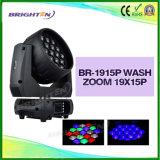 新しく熱い販売の洗浄ズームレンズ19*15Wの移動ヘッド段階ライトを明るくしなさい