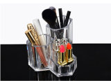 Maquillaje de acrílico de 3 ranuras Portaescobillas y escobillas organizador 5.5X5.5X4.7inch cara