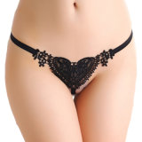 Cheap Wholesale Sexy Black Sweet dentelles Coeur Perle G-String