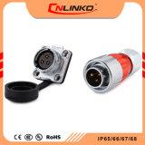 Cnlinkoの銅合金の金張りの円コネクター3 Pin IP65/IP67は電源コネクタの水中固体品質を防水する
