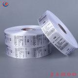 Il raso del contrassegno di cura di stampa dei vestiti ha stampato il contrassegno della lavata