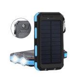 Wasserdichte Sonnenenergie-Bank 2 USB-Portsolaraufladeeinheits-Kompaß LED helles Poverbank für iPhone