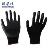 Перчатки безопасности черного полиэфира водоустойчивые при черный покрынный нитрил