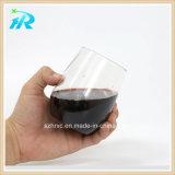 Taza sin pie del vino de la curva plástica clara del dedo de 10 onzas, vidrio plástico del vaso