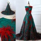 長く贅沢な刺繍の緑のレースの服の赤い羽のイブニング・ドレス