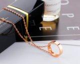 Chaîne en acier titanique exquise de collet de mode pour des cadeaux de bijou de colliers de clavicule d'or de Rose de femmes