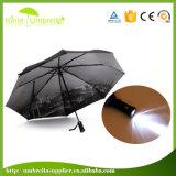 유럽 손잡이 LED 가벼운 우산에 있는 겹켜 3 겹 21inch 8K 형식