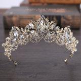 2018 de Nieuwe Tiara's van het Diadeem van de Tiara's van de Kroon van het Kristal Ab van de Luxe van de Manier Barokke Bruids Lichte Gouden voor Vrouwen (Cr-04)