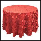 Round 3D en color marfil rizó tafetán Wafer forma mantel para la boda