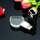 De Stok van het Geheugen van de Aandrijving van de Flits van de Vorm USB van het Hart van het kristal met LEIDEN Licht